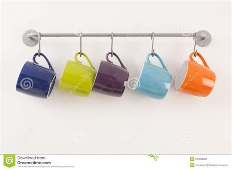 Colorful Cups On Metal Rack Royalty Free Stock Image   Image: 24338086