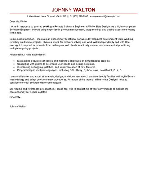 leading professional remote software engineer cover letter