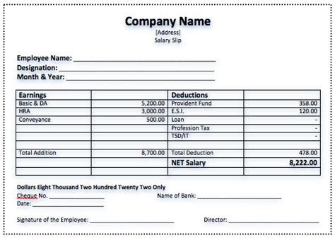 salary receipt template salary slip format free template downloads