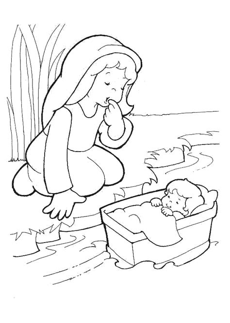 coloring pages baby moses basket baby moses