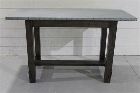 counter height kitchen island in reclaimed wood 27 pure zinc table in bar counter or dining height