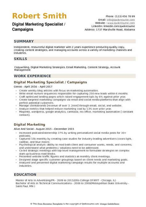 digital marketing resume sle pdf digital marketing specialist resume sles qwikresume