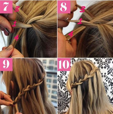 how to do a waterfall braid step by step on shprt hair musely