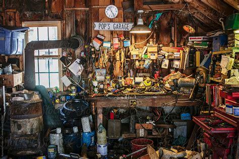 messy garage interior stocksy united