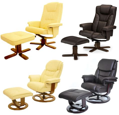 armchairs with footstool leather executive recliner arm chair with foot stool ebay