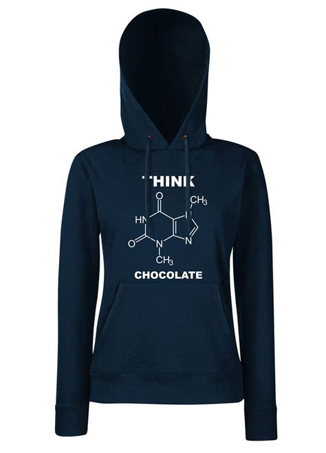 Hooded Sweatshirt With Slogan womens sayings slogans hoodies think chocolate hooded sweatshirt ebay