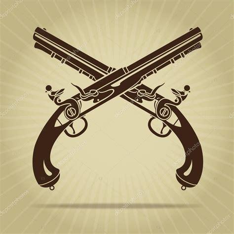 crossed revolvers tattoo vintage crossed flintlock pistols silhouette