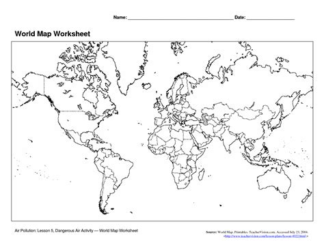 free printable world map quiz 5 best images of world map printable worksheet world map