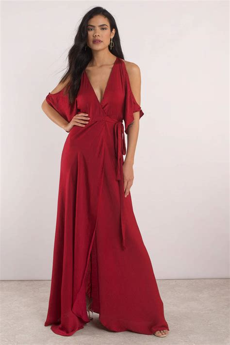 love  wine cold shoulder maxi dress  tobi