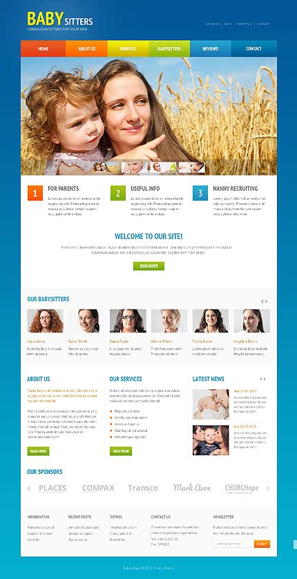 White Babysitter Website Template By Angela Babysitter Responsive Website Template 47985 Buy Website Templates