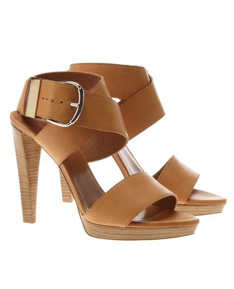 brown ankle sandals balenciaga leather ankle wrap sandals in brown lyst