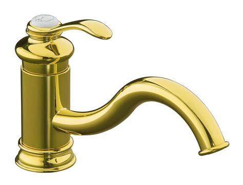 brass faucet kitchen kohler fairfax single kitchen sink faucet in vibrant polished brass the home depot canada