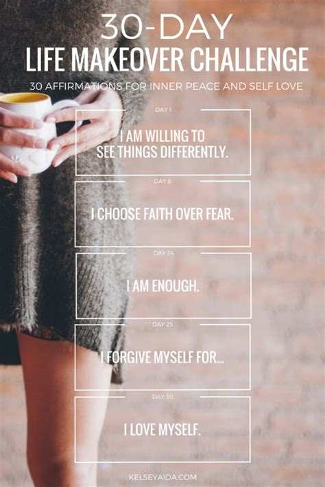 27 Positive Self Affirmations For 11 Aspects Of by 30 Day Makeover Challenge A Month Of Affirmations