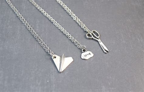 rock paper scissors necklace friendship pendant best