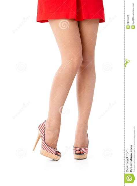 legs in mini skirt and high heels stock photography