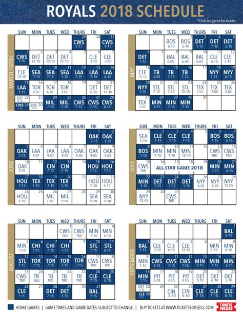 printable kansas city royals baseball schedule 2018 royals news blog and tickets royals tickets for less