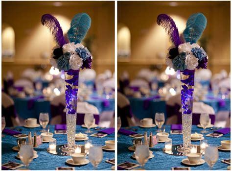 Gold Eiffel Tower Vases Purple Teal Theme Wedding