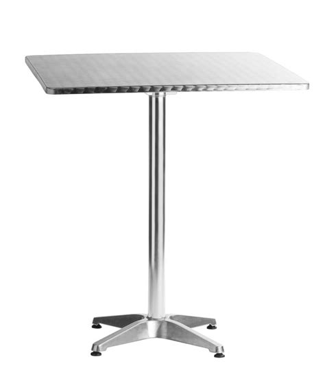 Aluminum 31 5 quot square bar height table lorenzo collection chairs direct seating