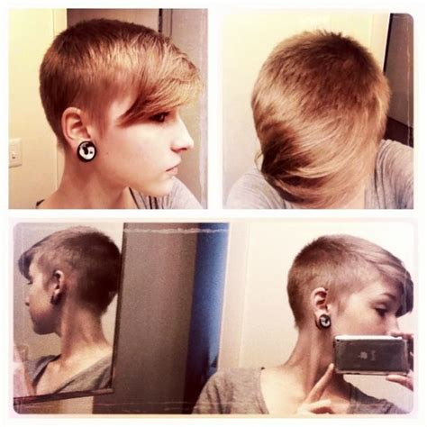 haircuts where the hair is shapved closer to the scalp at the bottom shaved pixie blended with long bangs extreme but it
