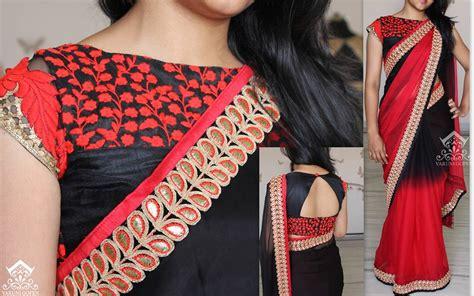 44990 Black Space Embriodery Top best top 20 designer boat neck blouse designs