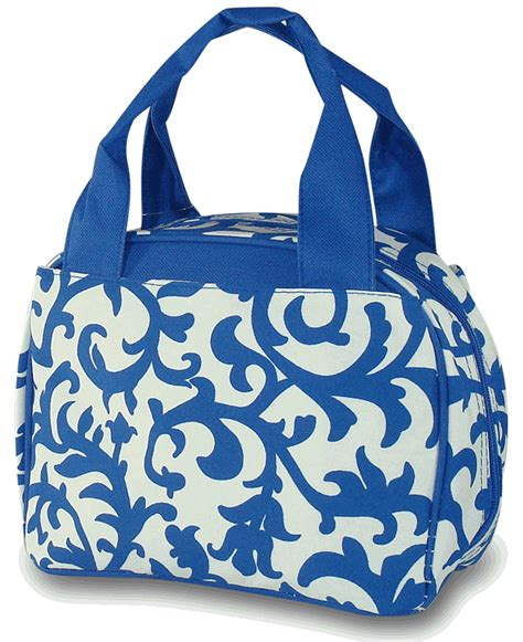monogrammed damask lunch tote bag personalized