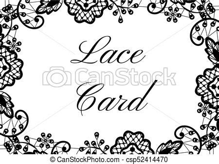 Lace border card. Template of card with black lace border
