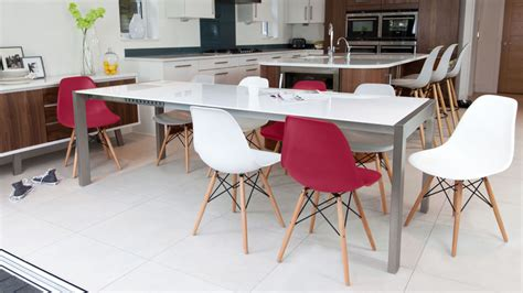 White Dining Table And Coloured Chairs Eames White Gloss Dining Set Seats Up To 10 Uk Delivery
