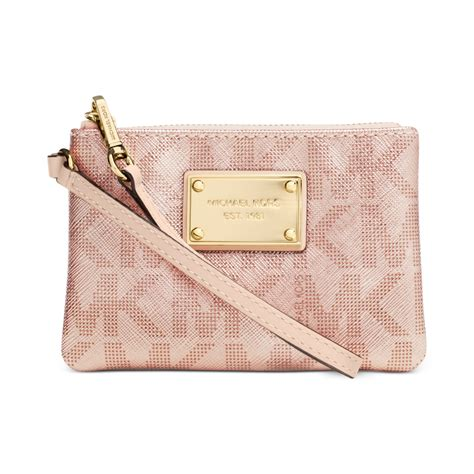 light pink michael kors wristlet michael kors small signature wristlet in pink lyst