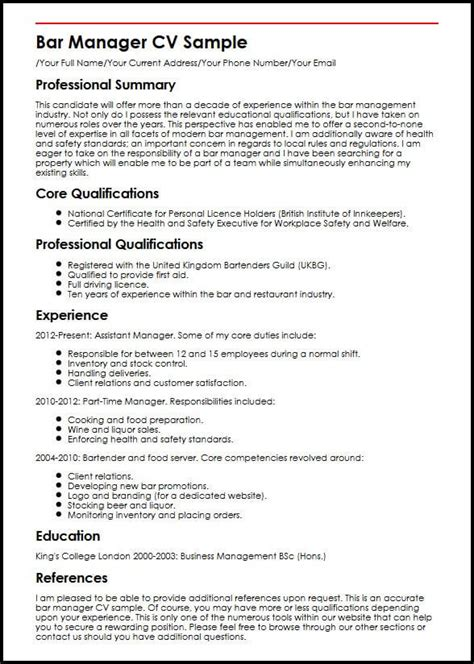 Bar Manager Resume by Bar Manager Cv Sle Myperfectcv