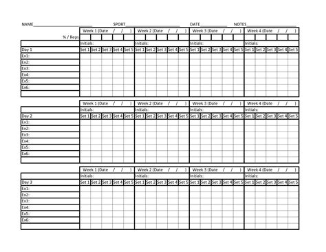 workout chart template printable workout charts eoua