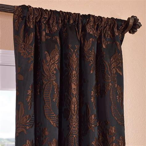 Black Silk Curtains Magdelena Black Cognac Faux Silk Jacquard Curtains