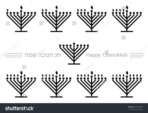 Menorah Candles Lighting Order Hanukkah Clipart Stock