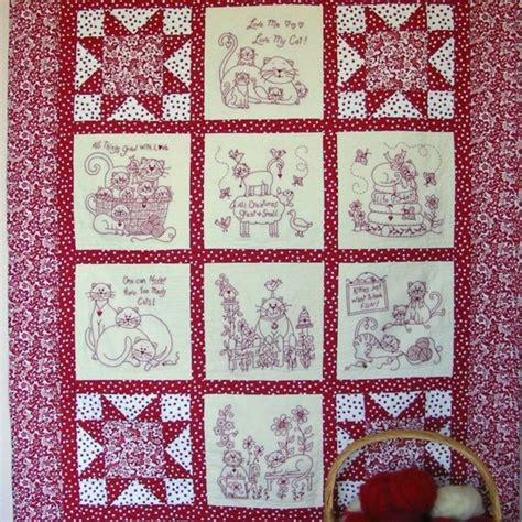 Machine Embroidery Quilt Patterns by Machine Embroider 8 Redwork Blocks