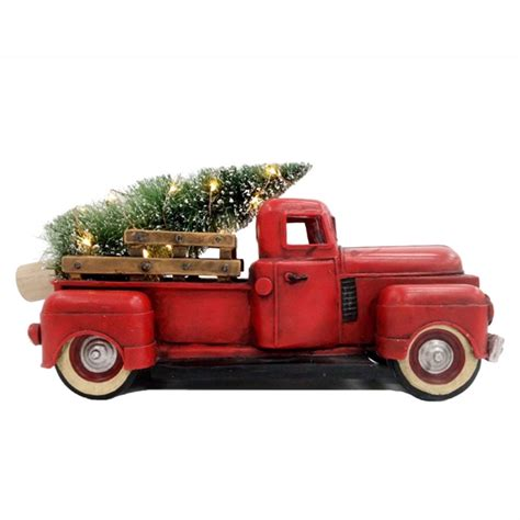 red christmas vintage pick ups for sale living 12 in vintage truck with tree lighted figurine lowe s canada