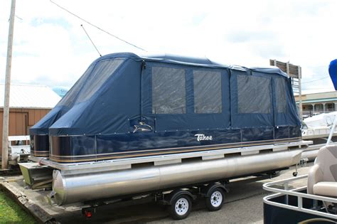 tracker boat enclosures new 24 ft high end pontoon boat with cer enclosure 2013