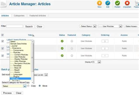 joomla tutorial article manager joomla 1 7 new article manager batch processing cmsmind