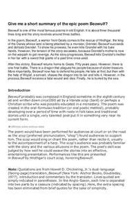 Beowulf Essay Epic by Beowulf
