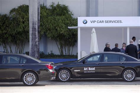 vip bmw 7 series bmw vip shuttle 7 series car outside art basel in miami