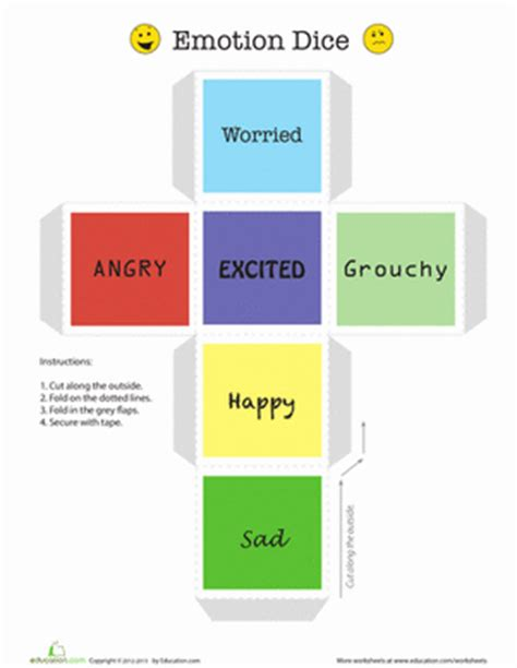 printable feelings dice emotion dice worksheet education com