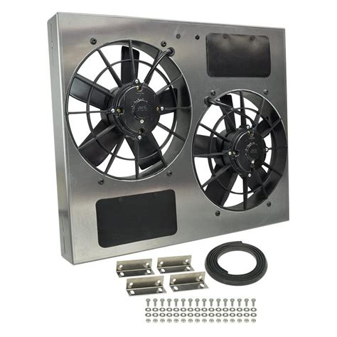 dual electric fans with shroud derale performance 174 16835 dual electric radiator fan