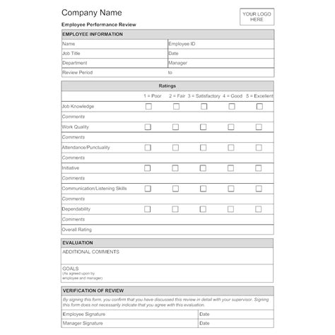 Employee Evaluation Form Employee Performance Evaluation Template