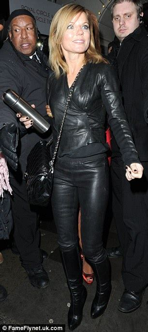 Classic Scrolldown Halliwells So So Ensemble by Geri Halliwell Wears All Leather For Out With Mel B