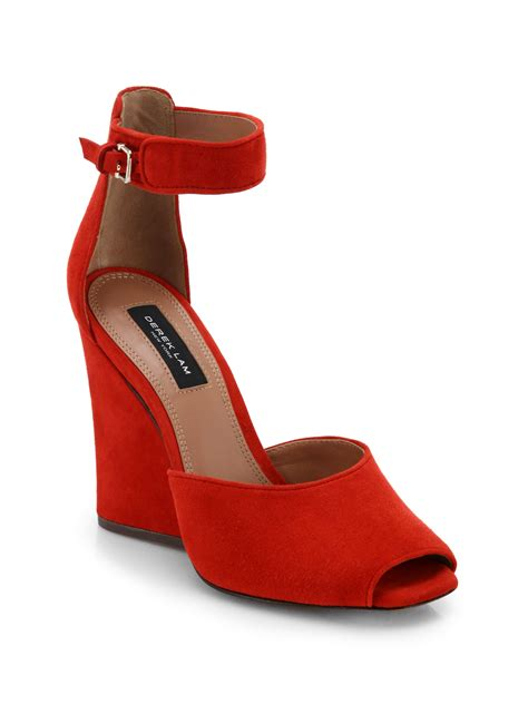 derek lam nansen suede wedge sandals in lyst