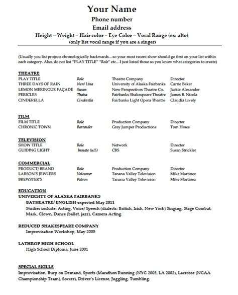 theatrical resume template word acting r 233 sum 233 template pdf word wikidownload