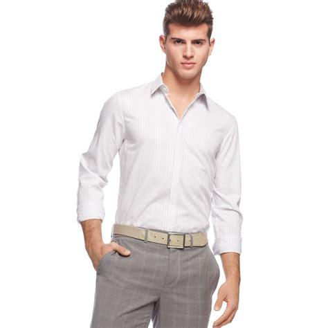 lyst calvin klein sleeve slim fit check shirt in