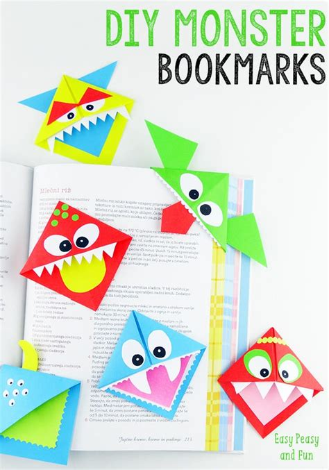 Cool Origami Bookmarks - diy corner bookmarks monsters easy peasy and