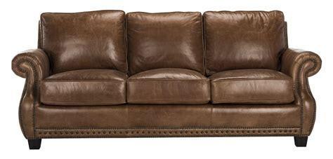 Safavieh Sofa by Traditional Top Grain Leather Nailhead Sofa Safavieh