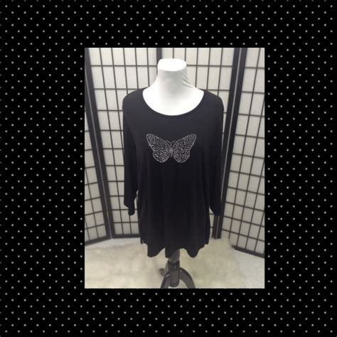 Sequins 3d Butterfly Black White Size M L 95 quacker factory tops black bling butterfly tunic xl from judy su posh ambassador s