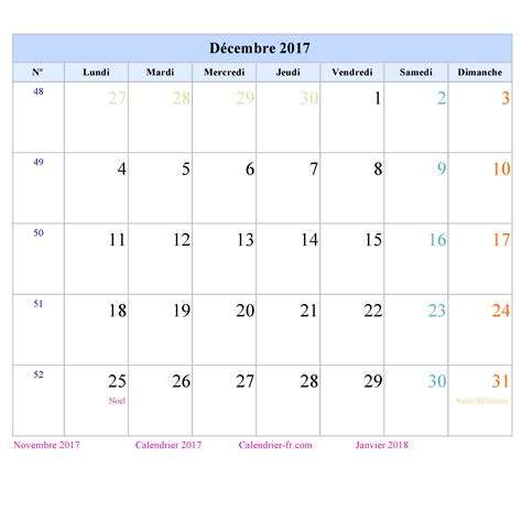 Calendrier Octobre Novembre D Cembre 2017 Calendrier Decembre 2017 A Imprimer Ou Telecharger Portrait