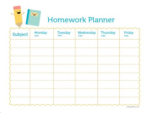free printable homework planner for students st john s primary school ptfa times
